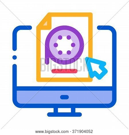 Selection Of Video Document On Computer Icon Vector. Selection Of Video Document On Computer Sign. C