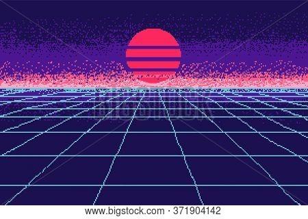 80 S Purple City. Pixel Art 8 Bit Object. Fashion Poster. Retro Game Assets. Futuristic Video Arcade