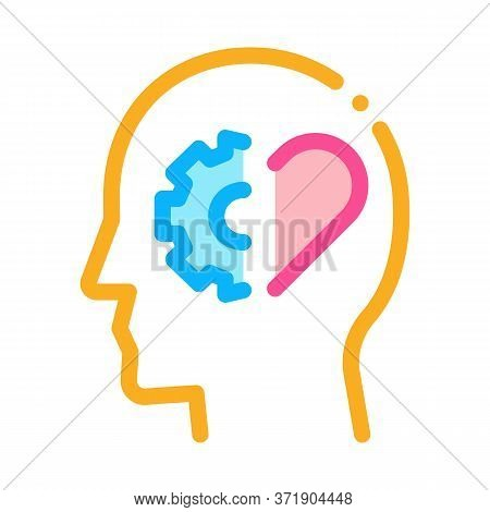 Human Brain Settings And Heart Icon Vector. Human Brain Settings And Heart Sign. Color Symbol Illust
