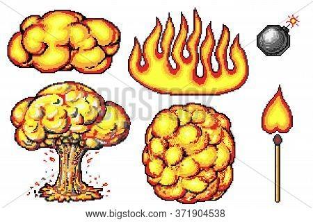 Nuclear Explosion. Pixel Art 8 Bit Fire Objects. Mushroom Cloud. Game Icons Set. Comic Boom Flame Ef