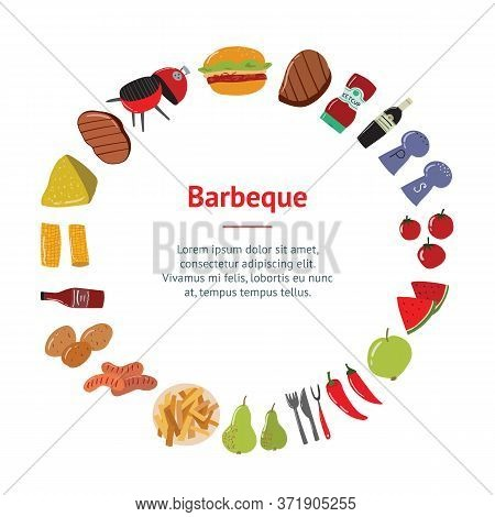 Cartoon Color Barbeque Picnic Concept Banner Card Circle Include Of Grill, Sausage, Meat, Vegetable,
