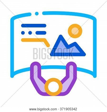 Man With Detailed Posters Top View Icon Vector. Man With Detailed Posters Top View Sign. Color Symbo