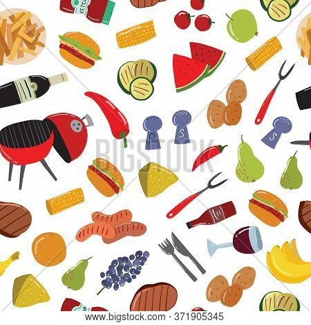 Cartoon Color Barbeque Picnic Concept Seamless Pattern Background On A White Include Of Grill, Sausa