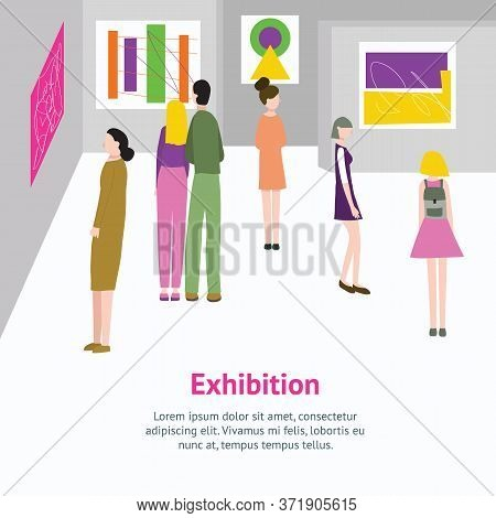 Cartoon Color Exhibition In Museum Or Gallery Inside Interior And Visitors Card Culture Exposition M