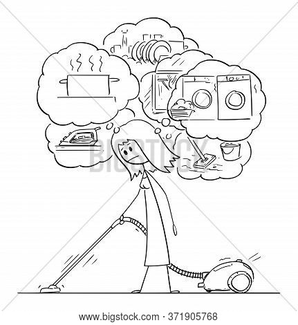 Vector Cartoon Stick Figure Drawing Conceptual Illustration Of Tired Woman Vacuuming Or Cleaning The