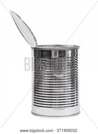 Empty open tin can isolated over white background