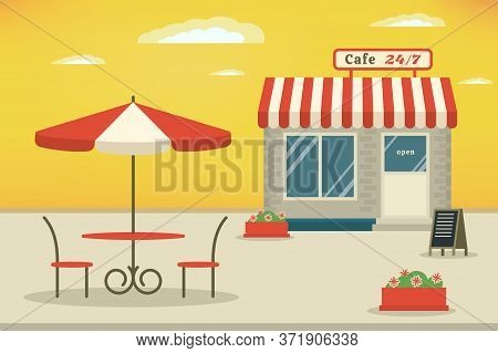 Outdoor Cafe Terrace. Cafe Shop Exterior. Street Cafe. Flat Stylle Illustration