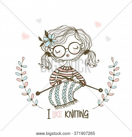 A Cute Girl Knits A Scarf On Her Knitting Needles. Vector