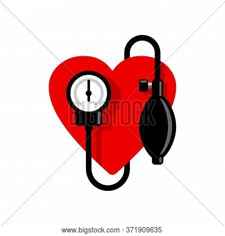 Blood Pressure Icon - Heart And  Sphygmomanometer - Emblem Of Heart Care And Cardiology