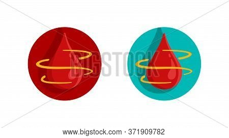 Blood Coagulation (clotting) Icon - Blood Changes From Liquid To Gel Process - Isolated Vector Symbo