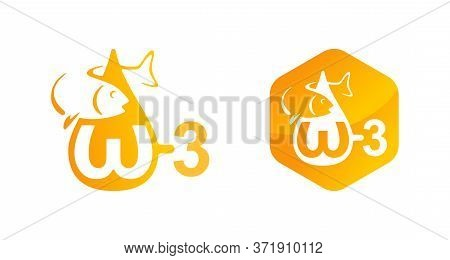 Omega-3 Fatty Acid And Oils Icon For Vitamines Packaging