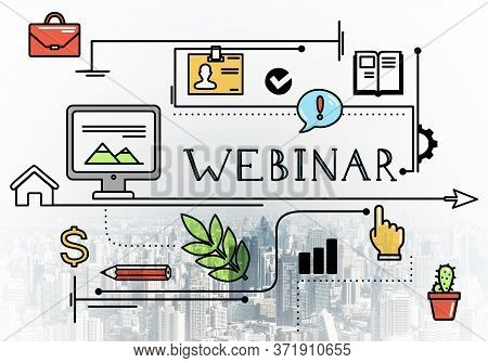 Internet Webinar Linear Sketch On Background Of Modern Cityscape. E-learning And Business Training C
