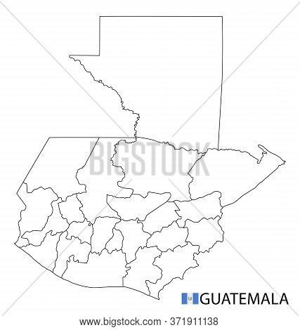 Guatemala Map, Black And White Detailed Outline Regions Of The Country.