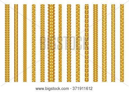 Seamless Golden Decoration Chain Braid Ornament Belt Plait Isolated Gold Pattern Border Set Design V