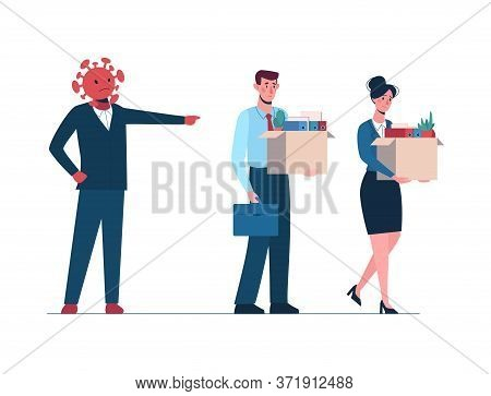 Coronavirus Leaves A People Without Work. Fired Man And Women Leaves The Office With A Box In His Ha