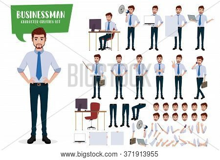 Businessman Character Creation Vector Set. Business Man Characters Editable Kit Create Face And Hand