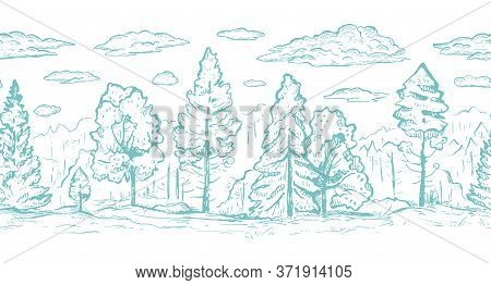 Forest With Clouds Hand Drawn Graphic Seamless Vector Sketch Border. Fir Trees And Deciduous Trees I