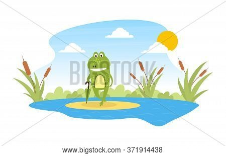 Green Funny Frog Standing With Umbrella On Leaf In Pond, Cute Amphibian Creature Character Posing On