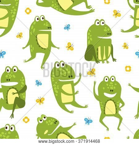 Green Funny Frog Seamless Pattern, Cute Amphibian Creature Character, Textile, Wallpaper, Packaging,