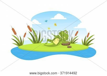 Green Funny Frog Lying On Leaf In Pond, Cute Amphibian Creature Character Posing On Lily Pad Cartoon