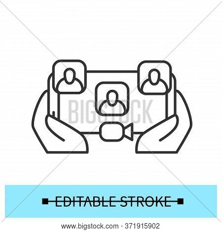 Video Call Sign. Group Video Conference Meeting Concept. Working From Home Or Distant Education Symb