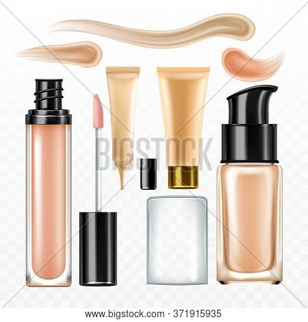 Facial Cream Concealer Cosmetic Package Set Vector. Collection Of Different Blank Bottles With Passe