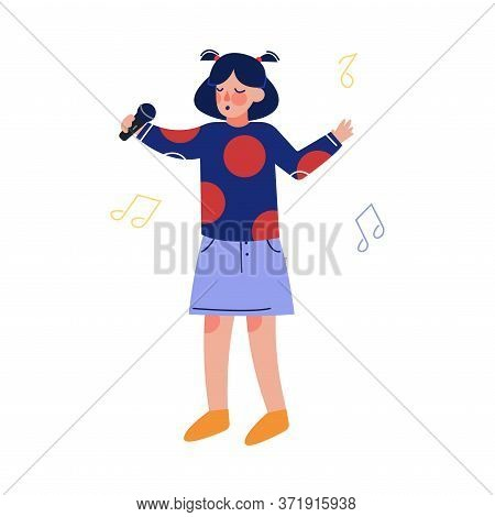 Teen Girl Singing With Microphone, Talented Child Character Performing In Concert, Singing Karaoke V