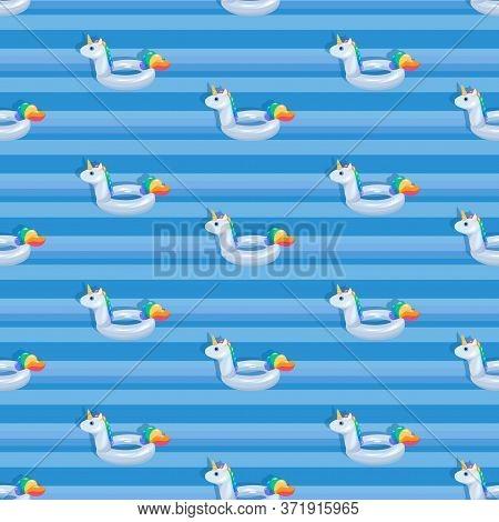 Unicorn Background. White Unicorn Floats. Pool. Inflatable Circle. Seamless Pattern. White Animal On