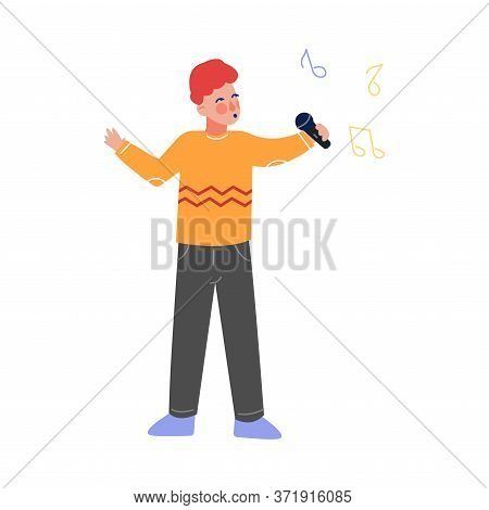 Boy Singing With Microphone, Talented Teenager Character Performing In Concert, Singing Karaoke Vect