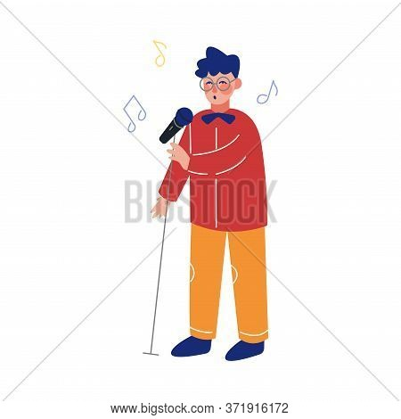 Teen Boy Singing With Microphone, Talented Child Character Performing In Concert, Singing Karaoke Ve