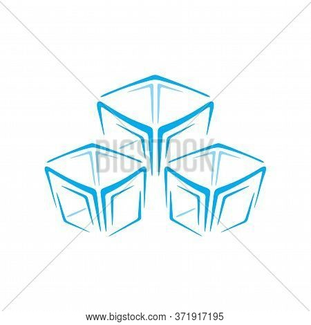 Ice Cubes Handful - Frozen Water In Cube Form - Vector Icon Or Logotype Template For Cold Water, Ref