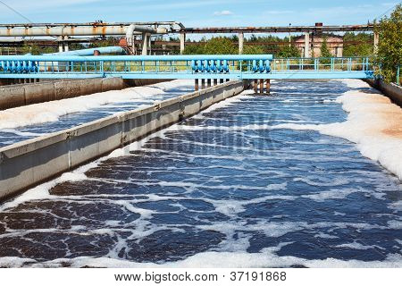 Water treatment tank with waste water with aeration process poster