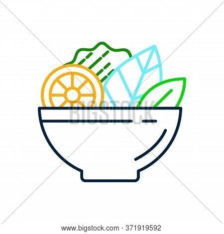 Food Dish Recipe, Nutrition Concept, Salad Ingredients, Vector Mono Line Icon