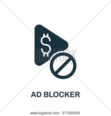 Ad Blocker Icon. Simple Element From Content Marketing Collection. Creative Ad Blocker Icon For Web
