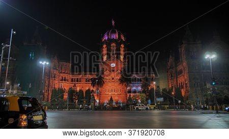Mumbai, India - December 17, 2018: Chatrapati Shivaji Terminus Earlier Known As Victoria Terminus In