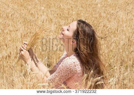 Travel To The Countryside, Freedom Enjoyment Concept. Woman Enjoying The Weather. Beautiful Happy Fr