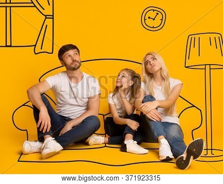 Lovely Girl And Her Parents Dreaming About Their New Furnished Home On Orange Background With Sketch