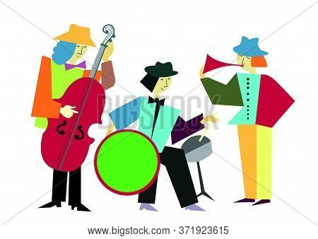 Music Band. Collage Style. Colorfull Vector Illustration.