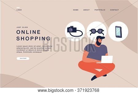 Landing Page Template For Websites Young Man Shopping Online By Laptop, Browsing Devices. Online Sho