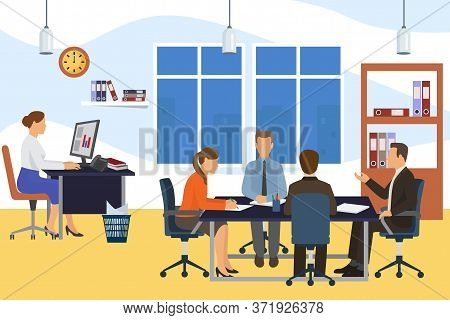 Office Business Meeting Team People, Vector Illustration. Teamwork At Cartoon Table, Group Character