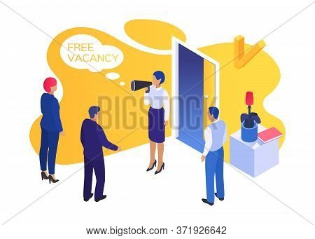 Job Business Vacancy People, Vector Illustration. Manger Recruitment Concept, Hiring Interview For C