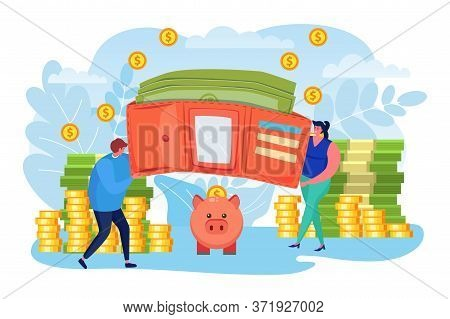 Money Savings, Business Finance Vector Illustration. Cash And Coin In Wallet, Flat Investment Concep