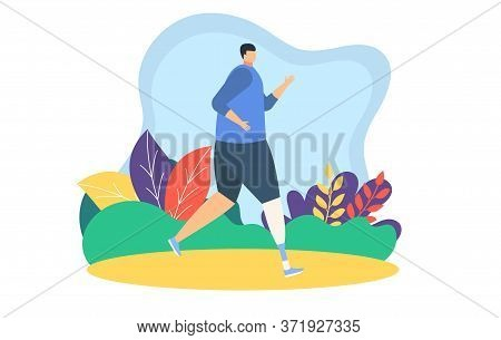 Disable People Runners Jogging Vector Illustration. Cartoon Flat Father, Mother And Daughter Child C