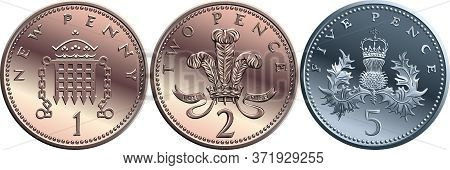 Vector Set British Coin One, Two, Five Pence, Reverses With Portcullis And Crown, Plume Of Ostrich F