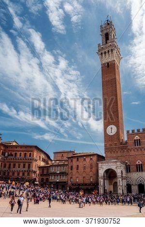 Siena Tuscany, Italy, April, 2018: Public Palace, Palazzo Pubblico In Campo Square, Piazza Del Campo