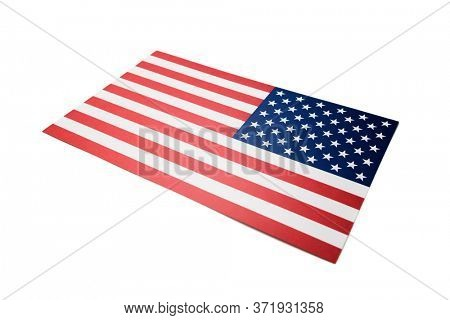 Paper flags of the United States of America, including clipping path