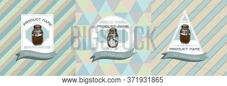 Three Colored Labels With Illustration Of Pepper Shaker, Salt Shaker Stock Illustration