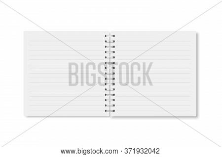 White Realistic A5 Notebook Opened With Soft Shadows. Vector Square Blank Copybook With Metallic Whi