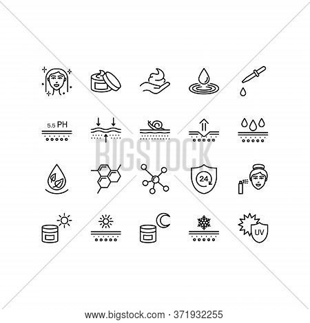Skin Care Flat Line Icon Set. Moisturizing Cream, Spf Whitening Gel, Care Dry Skin Cream, Oil, Serum