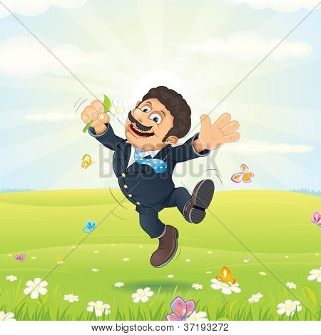 Happy Dreaming Businessman. Clerk with Flower, Leaps on the Green Meadow